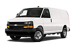 Stock pictures of low aggressive front three quarter view of 2020 Chevrolet Express-Cargo WT 4 Door Cargo Van Low Aggressive