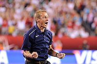 United States head coach Jurgen Klinsmann reacts to the US goal. The men's national teams of the United States (USA) and Mexico (MEX) played to a 1-1 tie during an international friendly at Lincoln Financial Field in Philadelphia, PA, on August 10, 2011.
