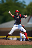Batavia Muckdogs starting pitcher Dustin Beggs (47) during a game against the Auburn Doubledays on September 5, 2016 at Dwyer Stadium in Batavia, New York.  Batavia defeated Auburn 4-3. (Mike Janes/Four Seam Images)