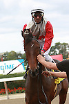 10 03 2010: Air Support with Rajiv Maragh up win the 32nd running of the Grade III Pilgrim Stakes, for 2-year olds on the turf at 1 1/16, Belmont Park, Elmont, NY. Trainer Shug McGaughey.  Owners Stuart Janney III