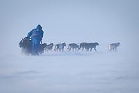 John Baker team runs head-on into 25 mph winds on Norton Sound on his way to Koyuk during Iditarod 2009