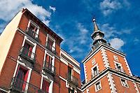Corner structure of the building surrounding the Plasa Mayor, Madrid, Spain