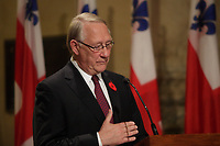 November 5, 2012 - Montreal, Quebec, CANADA -  <br />  Montreal Mayor Gerald Tremblay adress the media and live TV to announce his official and immediate resignation after  a few days of avoiding public appeareance and the medias, following troubling allegations at Charbonneau Commission regarding his knowledge of corruption at City Hall.Mayor Tremblay denies those allegation.