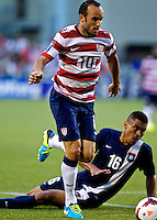 PORTLAND, Ore. - July 9, 2013: Landon Donovan brings the ball forward in the first half. The US Men's National team plays the National team of Belize during the 2013 Gold Cup at at JELD-WEN Field.