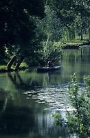Europe/France/Centre/37/Indre-et-Loire/Env d'Azay-le-Rideau : Pêcheur sur la vallée de l'Indre