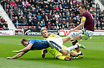 St Johnstone v Hearts…29.09.18…   Tynecastle     SPFL<br />David McMillan loses out to John Souttar and Zdenek Zlamal<br />Picture by Graeme Hart. <br />Copyright Perthshire Picture Agency<br />Tel: 01738 623350  Mobile: 07990 594431