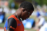 12 JUNE 2015: Antwan Wright of Florida waits for the start of the Men's 4X100 meters  during the Division I Men's and Women's Outdoor Track & Field Championship held at Hayward Field in Eugene, OR.  Steve Dykes/ NCAA Photos