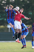 Cole Stockton of Morecambe and Bradley McClenaghan of Maldon during Maldon & Tiptree vs Morecambe, Emirates FA Cup Football at the Wallace Binder Ground on 8th November 2020