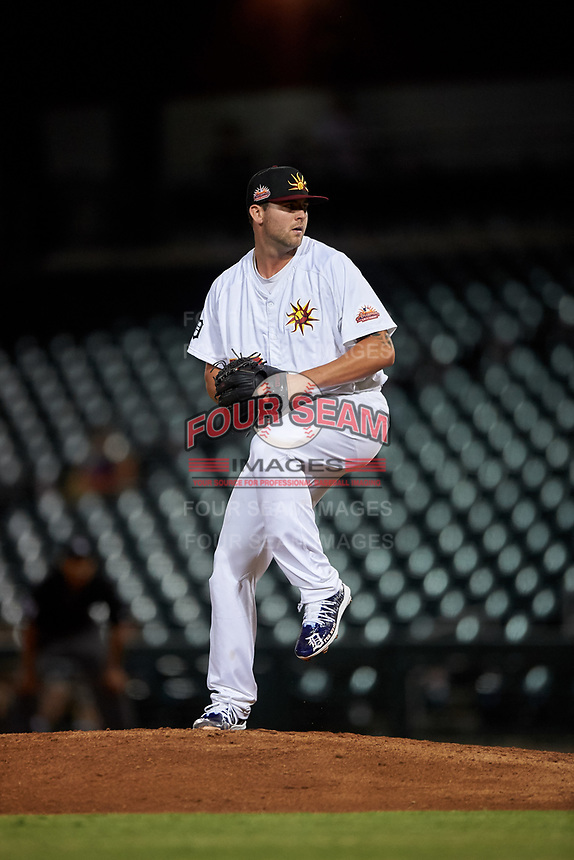 """Mesa Solar Sox Alex Lange (32), of the Detroit Tigers organization, delivers a pitch during an Arizona Fall League game against the Peoria Javelinas on September 21, 2019 at Sloan Park in Mesa, Arizona. Lange wore customized cleats painted with """"For Numi"""" to honor his late teammate Chace Numata who passed on September 2, 2019. Mesa defeated Peoria 4-1. (Zachary Lucy/Four Seam Images)"""