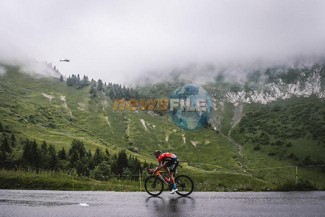 Dylan Teuns (BEL) Bahrain Victorious attacks during Stage 8 of the 2021 Tour de France, running 150.8km from Oyonnax to Le Grand-Bornand, France. 3rd July 2021.  <br /> Picture: A.S.O./Pauline Ballet   Cyclefile<br /> <br /> All photos usage must carry mandatory copyright credit (© Cyclefile   A.S.O./Pauline Ballet)