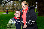 Johnny Lynch with his nan Hannah Lynch enjoying a stroll in the Tralee town park on Monday.