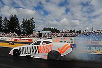 Aug. 7, 2011; Kent, WA, USA; NHRA funny car driver Brian Thiel during the Northwest Nationals at Pacific Raceways. Mandatory Credit: Mark J. Rebilas-