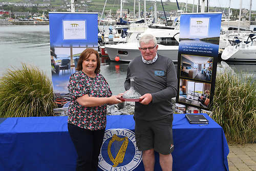 Sheila O' Connor (left) of the Dingle Skellig Hotel with Denis Murphy - Nieulargo with Dingle Skellig Hotel Trophy for 1st Overall
