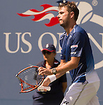 Stanislas Wawrinka (SUI) goes out ahead of Donald Young (USA) 6-4, 1-6, 6-3, 3-2 at the US Open in Flushing, NY on September 7, 2015.