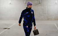 LE HAVRE, FRANCE - APRIL 13: Megan Rapinoe #15 of the United States arrives at the stadium before a game between France and USWNT at Stade Oceane on April 13, 2021 in Le Havre, France.