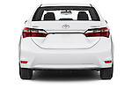 Straight rear view of a 2014 Toyota Corolla Comfort 4 Door Sedan 2WD Rear View  stock images