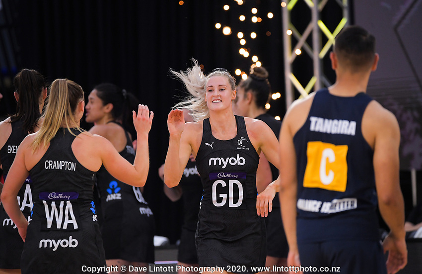 Silver Ferns goal defence Jane Watson runs out for the Cadbury Netball Series final between NZ Silver Ferns and NZ Men at the Fly Palmy Arena in Palmerston North, New Zealand on Saturday, 24 October 2020. Photo: Dave Lintott / lintottphoto.co.nz