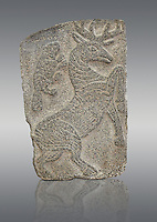 9th century BC stone Neo-Hittite/ Aramaean Orthostats from Palace Temple of the Aramaean city of Tell Halaf in northeastern Syria close to the Turkish border. The Orthostats are in a Neo Hittite style and depict mythical animals that have magical properties. Pergamon Museum, Berlin