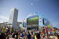 A General view of the Argentina and Belgium fans at the FIFA Fan Fest on Copacabana beach in Rio de Janeiro