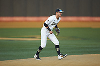 Wake Forest Demon Deacons shortstop Patrick Frick (5) on defense against the North Carolina State Wolfpack at David F. Couch Ballpark on April 18, 2019 in  Winston-Salem, North Carolina. The Demon Deacons defeated the Wolfpack 7-3. (Brian Westerholt/Four Seam Images)