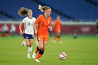 YOKOHAMA, JAPAN - JULY 30: Stefanie van der Gragt #3 of the Netherlands controls the ball during a game between Netherlands and USWNT at International Stadium Yokohama on July 30, 2021 in Yokohama, Japan.