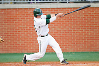 Justin Seager #10 of the Charlotte 49ers follows through on his swing against the Tennessee Tech Golden Eagles at Robert and Mariam Hayes Stadium on March 8, 2011 in Charlotte, North Carolina.  Photo by Brian Westerholt / Four Seam Images