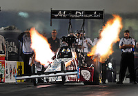Sept. 17, 2010; Concord, NC, USA; NHRA top fuel dragster driver Rod Fuller launches off the starting line during qualifying for the O'Reilly Auto Parts NHRA Nationals at zMax Dragway. Mandatory Credit: Mark J. Rebilas/