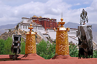 View from the chapel at Palha Lupuk on Chagpo Ri  mountain of the Potala Palace, Lhasa, Tibet, China.
