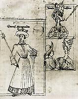 Kingdom of Castile (14th c.). The king Enrique II of Castile (left), his wife Juana Manuel de Villena and his sons Leonor de T