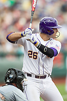 LSU Tigers first baseman Chris Chinea (26) at bat against the TCU Horned Frogs in the NCAA College World Series on June 14, 2015 at TD Ameritrade Park in Omaha, Nebraska. TCU defeated LSU 10-3. (Andrew Woolley/Four Seam Images)