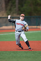 Hartford Hawks third baseman TJ Ward (3) takes infield practice prior to the game against the Virginia Cavaliers at The Ripken Experience on February 27, 2015 in Myrtle Beach, South Carolina.  The Cavaliers defeated the Hawks 5-1.  (Brian Westerholt/Four Seam Images)
