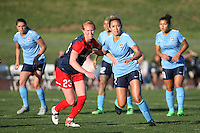 Piscataway, NJ, April 24, 2016.  Shawna Gordon (2) of  Sky Blue FC and Tori Huster (23) of  the Washington Spirit jockey for position.  The Washington Spirit defeated Sky Blue FC 2-1 during a National Women's Soccer League (NWSL) match at Yurcak Field.