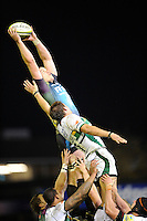 Ian Evans of Ospreys out jumps Tom Wood of Northampton Saints in the lineout during the LV= Cup second round match between Ospreys and Northampton Saints at Riverside Hardware Brewery Field, Bridgend (Photo by Rob Munro)