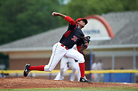 Batavia Muckdogs starting pitcher Edward Cabrera (30) delivers a pitch during a game against the Tri-City ValleyCats on July 16, 2017 at Dwyer Stadium in Batavia, New York.  Tri-City defeated Batavia 13-8.  (Mike Janes/Four Seam Images)