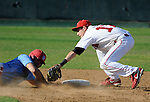 Infielder tries to tag out runner sliding headfirst into second.
