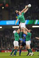 Iain Henderson of Ireland competes with Yoann Maestri of France in the lineout during Match 39 of the Rugby World Cup 2015 between France and Ireland - 11/10/2015 - Millennium Stadium, Cardiff<br /> Mandatory Credit: Rob Munro/Stewart Communications