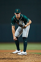 Greensboro Grasshoppers relief pitcher Bear Bellomy (18) looks to his catcher for the sign against the Winston-Salem Dash at Truist Stadium on August 11, 2021 in Winston-Salem, North Carolina. (Brian Westerholt/Four Seam Images)