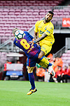 Andres Iniesta Lujan of FC Barcelona (L) trips up with Michel Macedo of UD Las Palmas (R) during the La Liga 2017-18 match between FC Barcelona and Las Palmas at Camp Nou on 01 October 2017 in Barcelona, Spain. (Photo by Vicens Gimenez / Power Sport Images