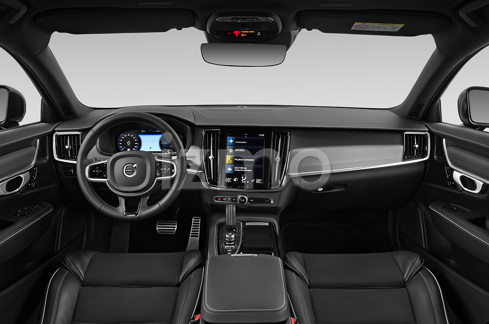 Stock photo of straight dashboard view of 2021 Volvo V90-Recharge R-Design 5 Door Wagon Dashboard