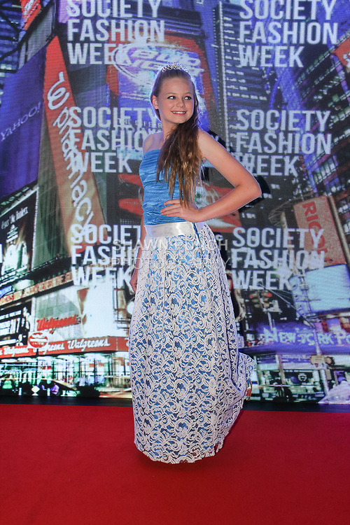 Model poses in an outfit from the Elizabeth Cordelia collection, at The Society Fashion Week on September 9, 2018 at The Roosevelt Hotel in New York City, during New York Fashion Week Spring Summer 2019.