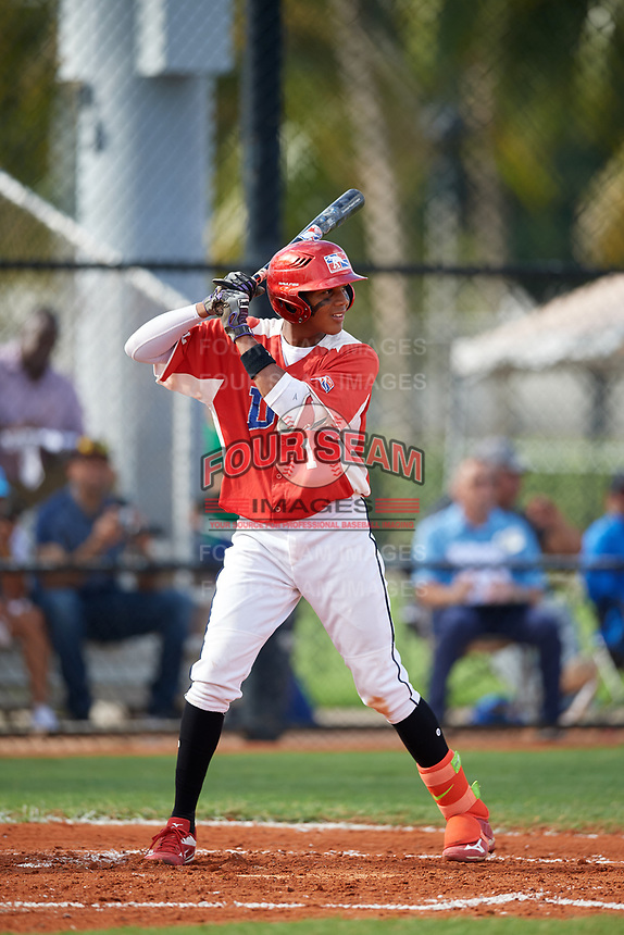 Ivan Sosa (1) during the Dominican Prospect League Elite Florida Event at Pompano Beach Baseball Park on October 15, 2019 in Pompano beach, Florida.  (Mike Janes/Four Seam Images)