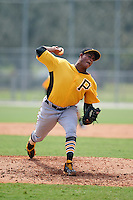 Pittsburgh Pirates pitcher Edgar Santana (36) during an instructional league intrasquad black and gold game on September 23, 2015 at Pirate City in Bradenton, Florida.  (Mike Janes/Four Seam Images)