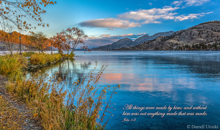 Fine Art Scenic of a morning sunrise on Skaha Lake in British Columbia, Canada.<br />