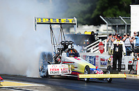 Aug. 21, 2011; Brainerd, MN, USA: NHRA top fuel dragster driver Cory McClenathan during the Lucas Oil Nationals at Brainerd International Raceway. Mandatory Credit: Mark J. Rebilas-