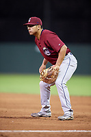 Mahoning Valley Scrappers first baseman Ulysses Cantu (8) during a game against the Batavia Muckdogs on August 18, 2017 at Dwyer Stadium in Batavia, New York.  Mahoning Valley defeated Batavia 8-2.  (Mike Janes/Four Seam Images)