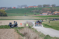 chasing breakaway group racing over the newly added gravel roads around Ploegsteert, called 'Plugstreets'<br /> <br /> 79th Gent-Wevelgem 2017 (1.UWT)<br /> 1day race: Deinze › Wevelgem - BEL (249km)