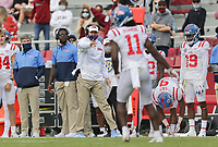 Ole Miss head coach Lane Kiffin gestures, Saturday, October 17, 2020 during the second quarter of a football game at Donald W. Reynolds Razorback Stadium in Fayetteville. Check out nwaonline.com/201018Daily/ for today's photo gallery. <br /> (NWA Democrat-Gazette/Charlie Kaijo)