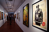 The screen printing titled 'My Florist is a Dick' at the Exhibition '3 Decades of Dissent' of the urban artist Shepard Fairey at the modern art gallery of Rome.<br /> Rome (Italy), September 17th 2020<br /> Photo Samantha Zucchi Insidefoto