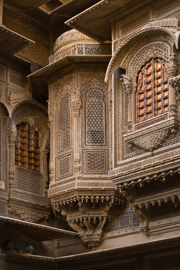 Window of the Patwa Ki Haveli is the finest example of sandstone construction in the GOLDEN CITY of JAISALMER - RAJASTHAN, INDIA