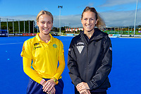 Hockeyroos midfielder Stephanie Kershaw and Vantage Black Sticks women's captain Stacey Michelsen. Sentinel Homes Trans-Tasman Hockey Series captain's call at Massey University in Palmerston North, New Zealand on Wednesday, 26 May 2021. Photo: Dave Lintott / lintottphoto.co.nz